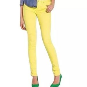 J Crew Toothpick Ankle Skinny Jeans 28 Yellow